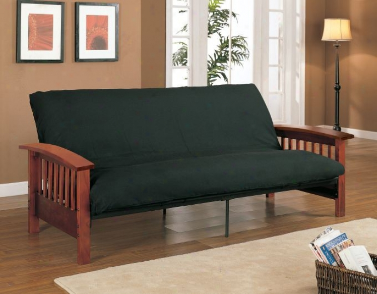 Black Futon Pad With Cherry Brown Wood Futon Skeleton