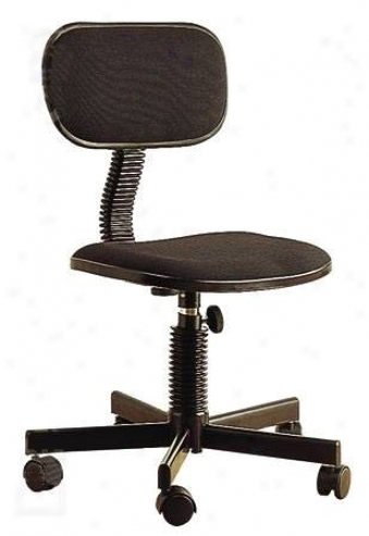 Black Office/computer Secretary Chair W/adjustable Back Rest & Height