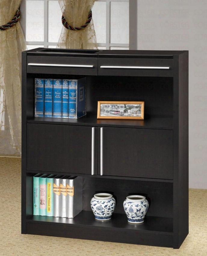 Bookcase Contemporary Style In Cappuccino Finish