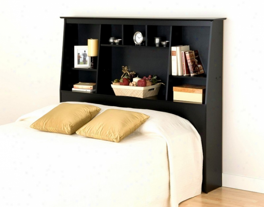 Bookcase Style Black Finish Double/queen Size Storage Tall Headboard