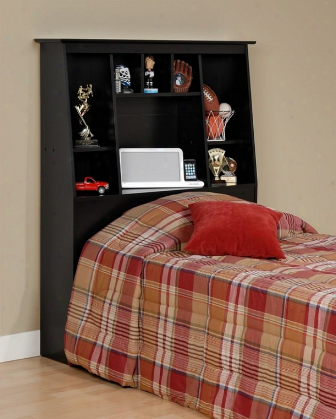Bookcase Style Black End Twin Size Storage Tall Headboard