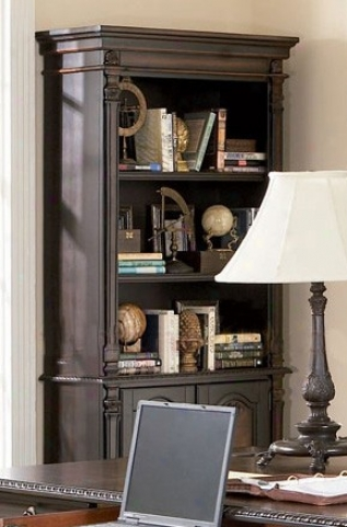 Bookcase With Detailed Carvings In Two Tone Finish