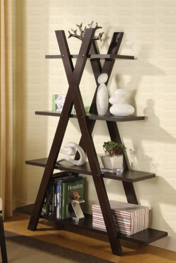 Bookcase With &quotx&quot Shape In Cappuccino Finish