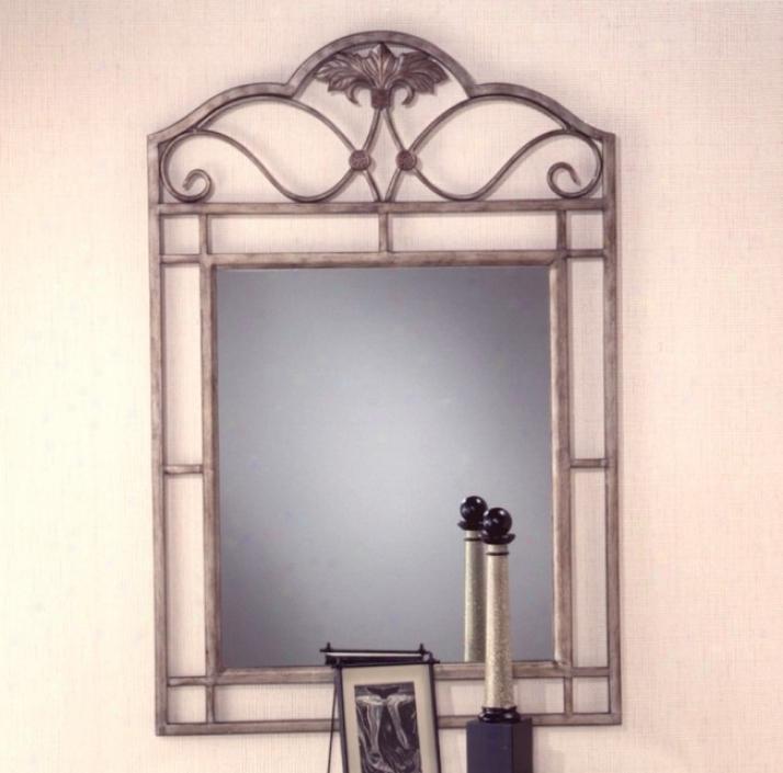 Bordeaux Bronze Pewger Finish Metal Console Mirror