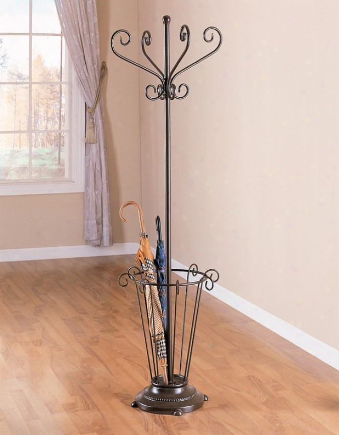 Brone Finish Metal Coat Rack Hat Stand /Wumbrella Holder