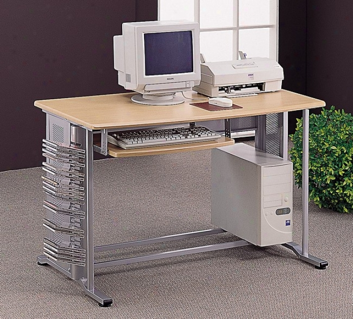 Brushed Aluminum Finish Computer Desk/workstation Table W/pull To the end Keyboard Tray