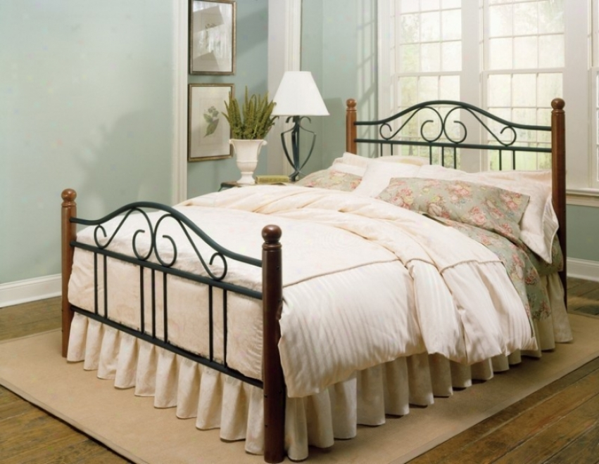 California King Bed With Frame - Weston Transitional Design In Matte Black And Maple Finish