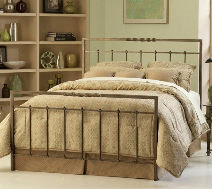 Califorbia King Metal Bed With Frame - Helix Contemporary Design In Copper Chrmoe Finish