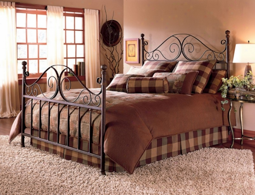 California King Metal Bed With Frame - Roma Tradotional Design In Afed Rust Finish