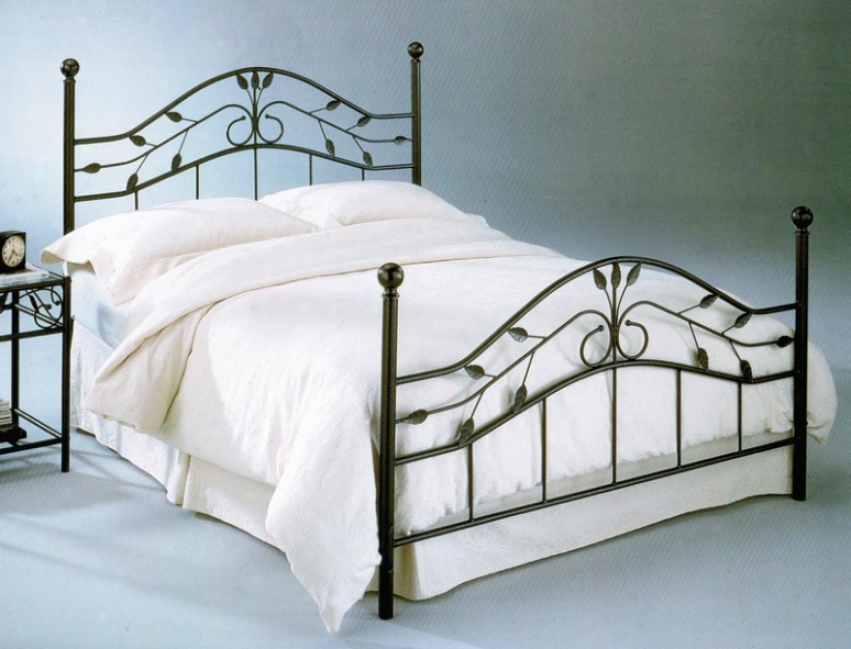 California King Metal Bed With Frame - Sycamore Transitional Design In Hammered Large boiler Finish
