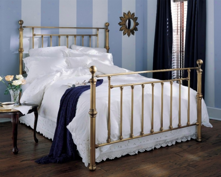 California King Metal Bed With Frame - Waldorf Traditional Design In Aged Brass Finish