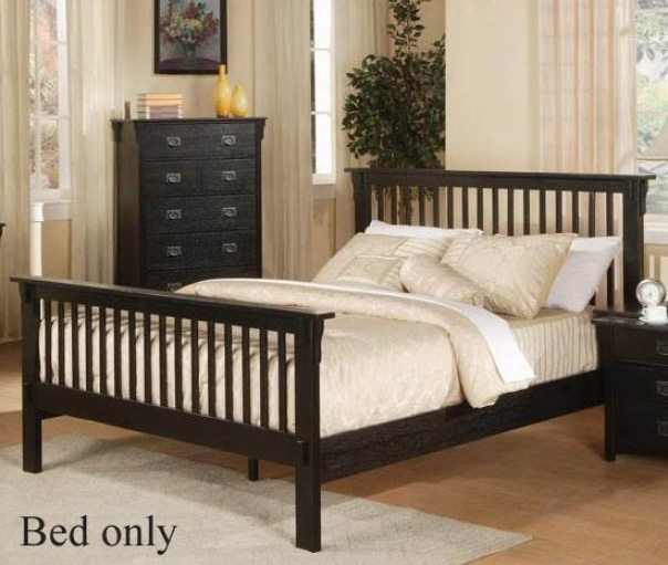California King Size Bed Mission Style In  Black Finish