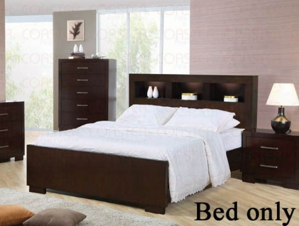 California King Size Bed With Shelf Headboard In Cappuccino Finish