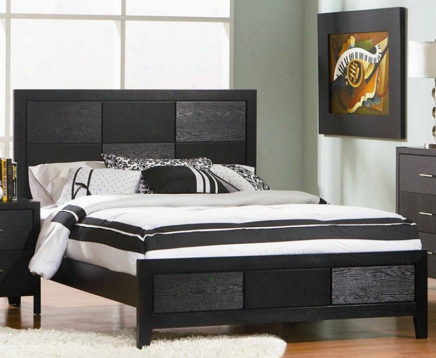 California King Size Bed With Wood Grain In Black Finish