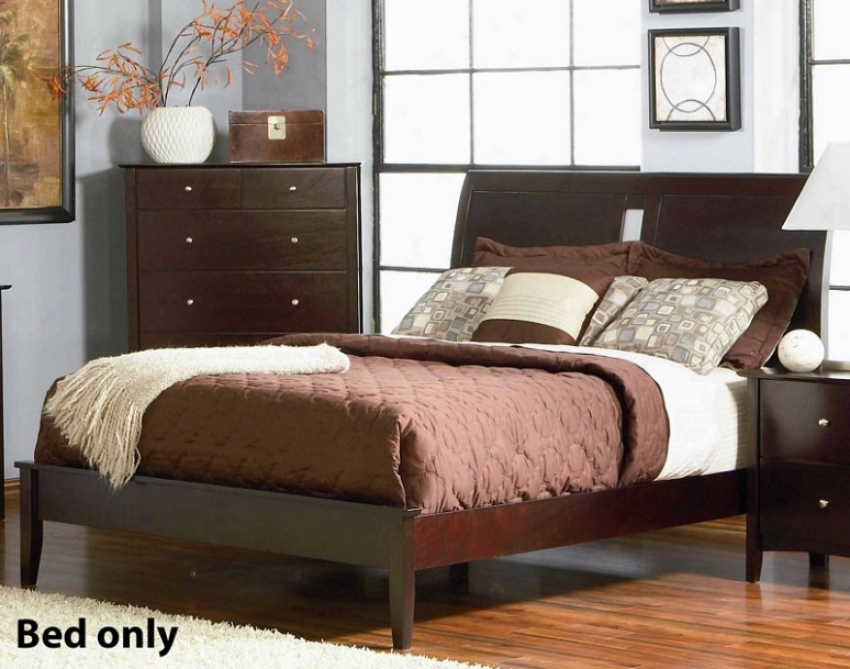 California King Size Platform Bed In Rich Merlot Finish