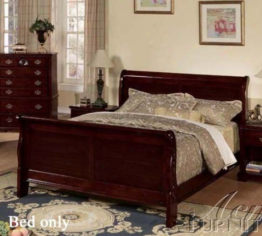 California King Size Sleigh Bed In Dark Cherry Finish
