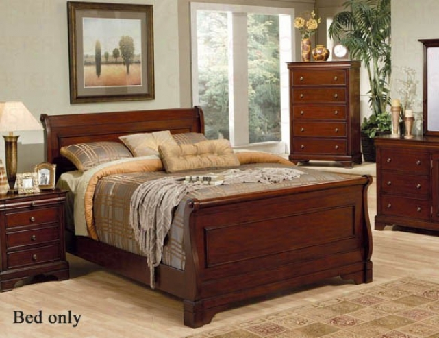 California Sovereign Size Sleigh Bed Louis Philippe Style In Mahogany Finish