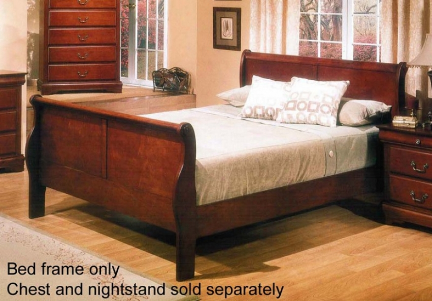 California Kiibg Sleigh Channel With Traditional Style Design In Brown Cherry Finish