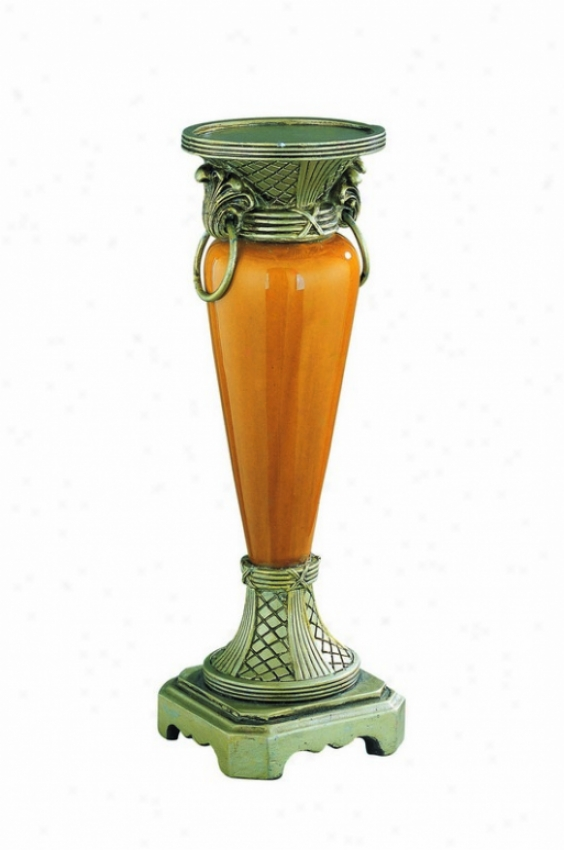 Candle Holder With Golden-amber Ceramic Body In Antique Brass Finish