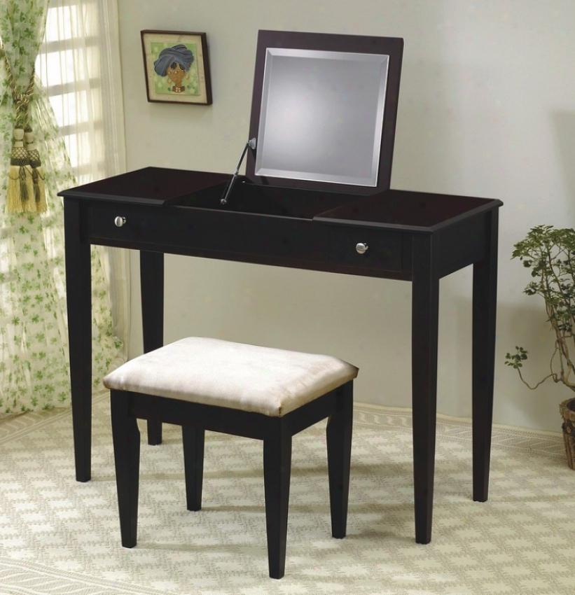 Cappuccino Finish Flip Top Vanity Table & Discharge Set