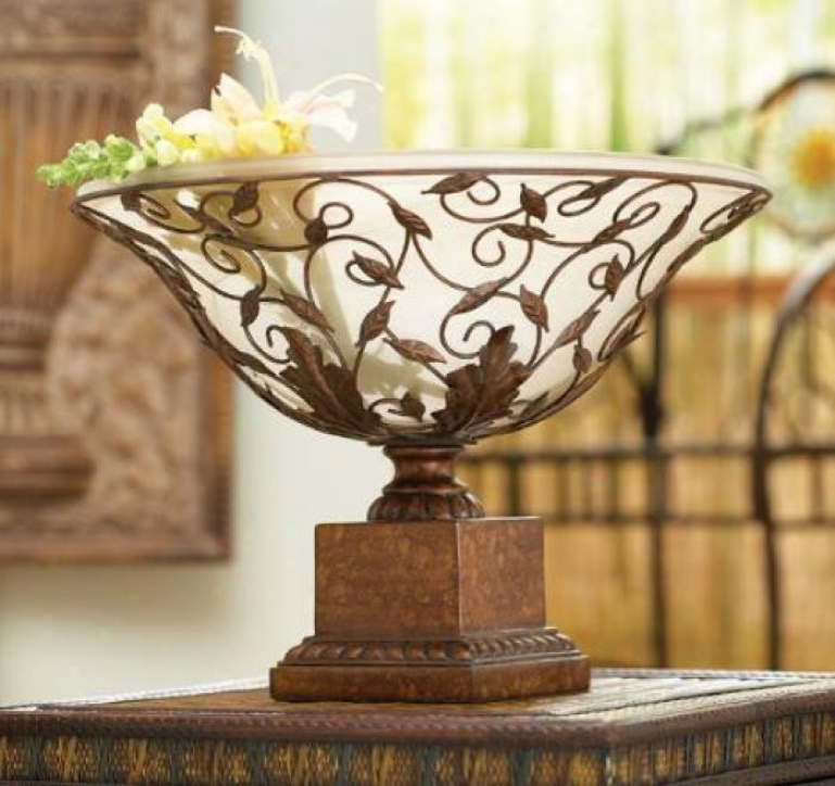 Casa Cristina Bowl With Frosted Glaas Design In Aged Oak Finlsh