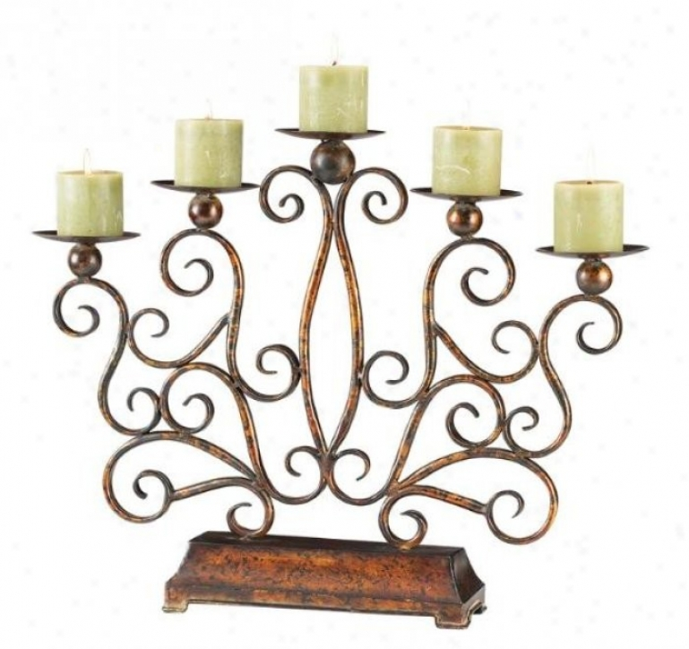 Casa Cristina Candleholder In Antique Copler Finish