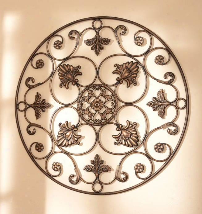 Casa Cristina Wall Grill With Scroll Design In Antique Gold Finish