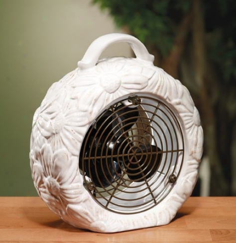 Ceramic Table Fan With Sunflower Design In White Finish