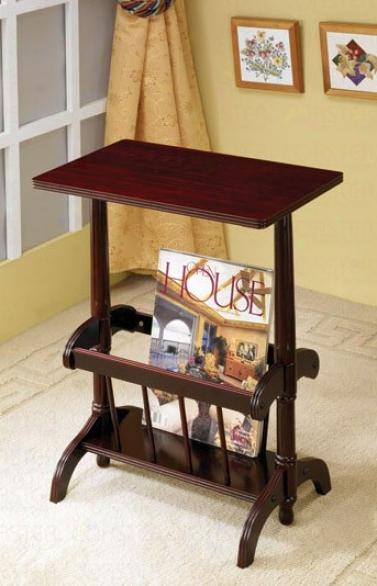 Cherry Finish Wood Tea Table Wiyh Magazine Rack Stop