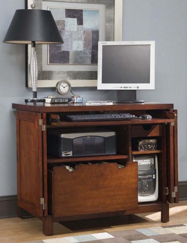 Computer Cabinet Contemporary Style In Cherry Finish
