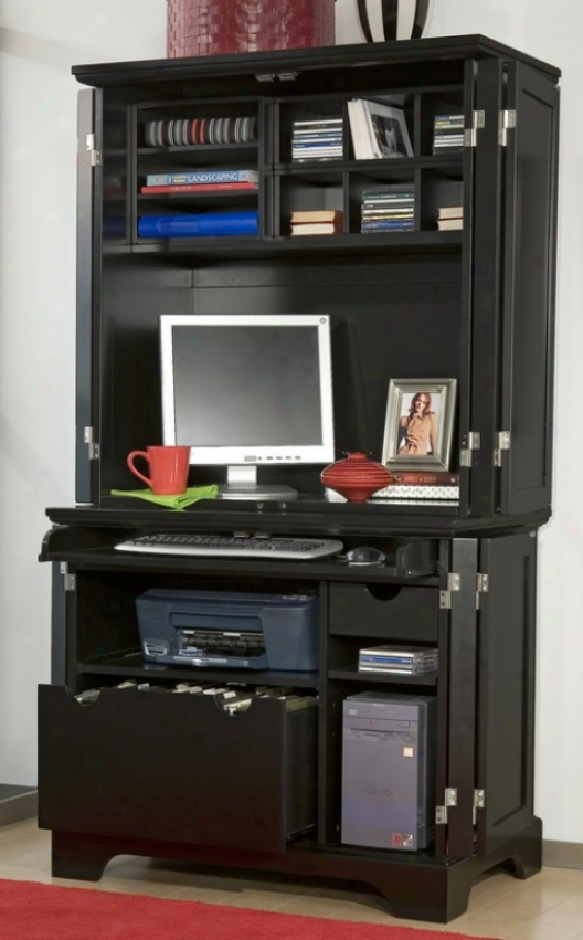 Computer Closet With Hutch In Ebony Finish