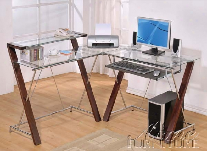 Computer Desk Corner With Glass Top In Cherry Finish