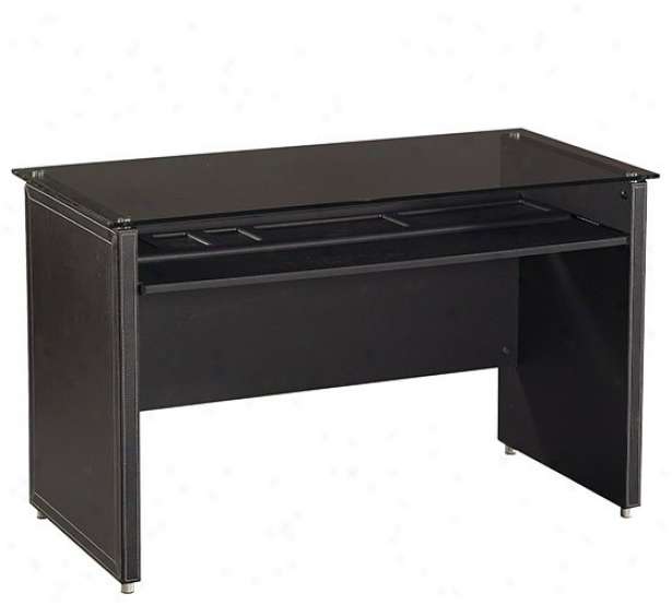 Computer Desk In the opinion of Faux Leathrr Panels In Black Finish