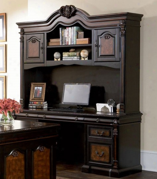 Computer Desk With Hutch Detailed Carvings In Two Tone Finish