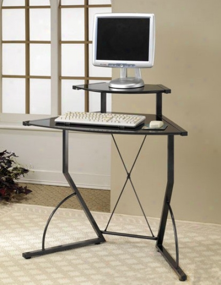 Computer Desk With &quotx&quot Design In Black Finish