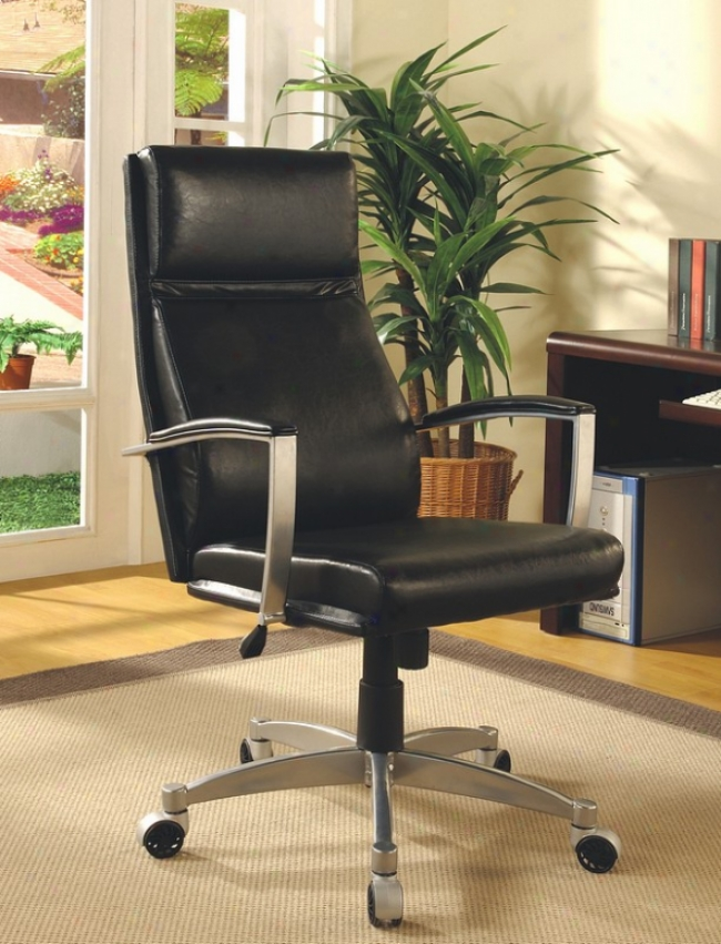 Contemporary Black Adjustable Home Office Chair With Gas Lift