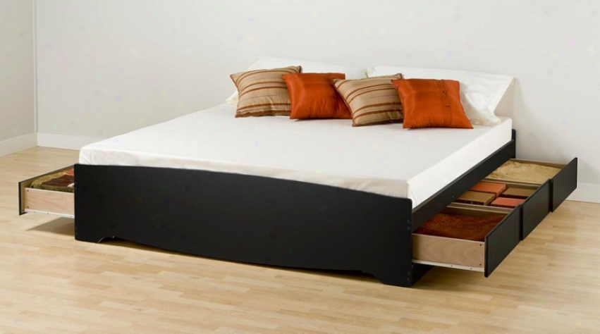 Contemporary Black Finish King Size Platform Storage Bed