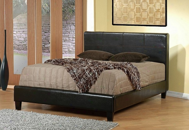 Contemporary Brown Leathwr-like California King Size Bed
