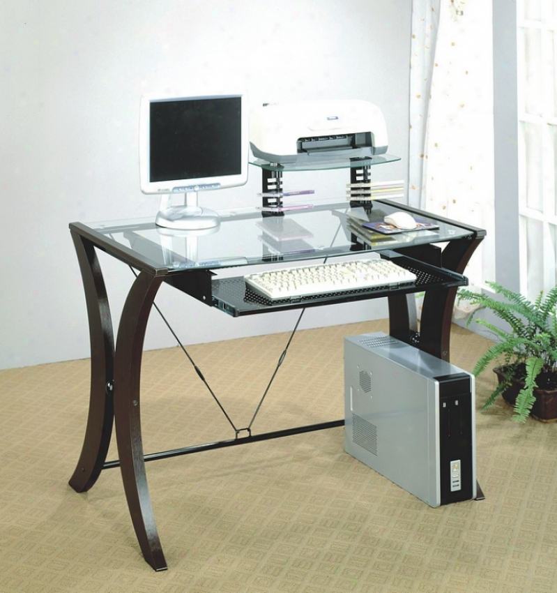 Contemporary Cappuccino Finish Computer Desk W/ Hap Out Tray