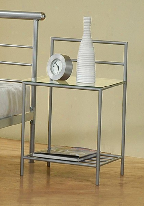 Contemporary Modern Silver Finish Metal Night Stand Bedside Table