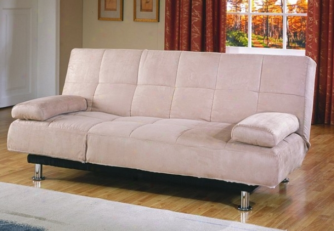 Contemporary Peat Microfiber Futon Sofa W/mattress Pad