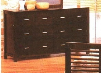Contemporary Styls Cherry Brown Finish Forest Bedroom Dresser W/8 Drawers
