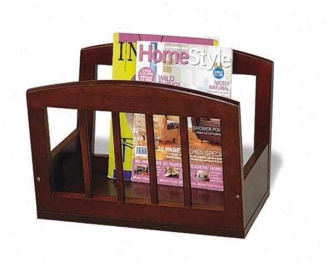 Contemporary Style Cherry Finish Wood Magazine Rack