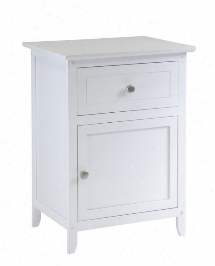 Contemporary Style Nightstand In White Finish
