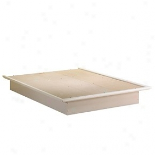 Contemporary Style Pure White End Platform Bed 54&quot & Moulding