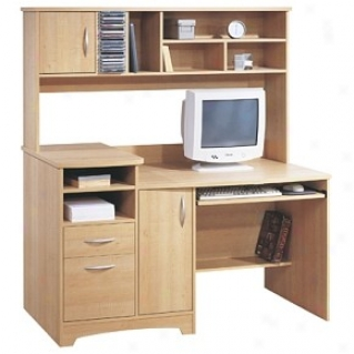 Contemporary Style Sweet Maple Finish Computer Center