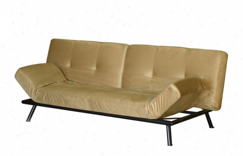 Convertible Futon Sofa With Adjustable Arms In Sage Microfiber
