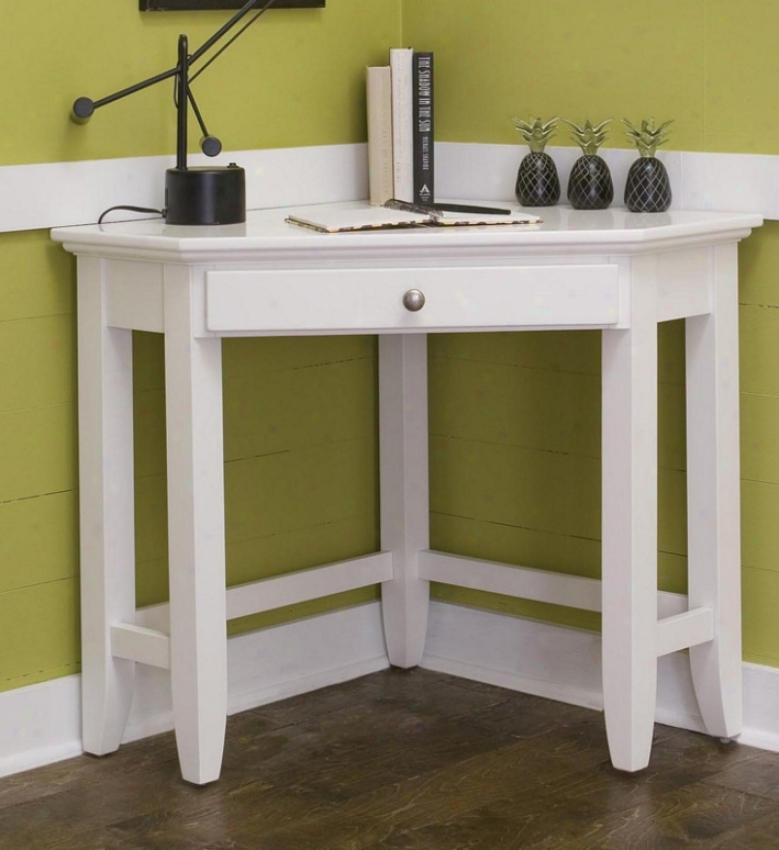 Corner Desk Contemporary Title In White Finish
