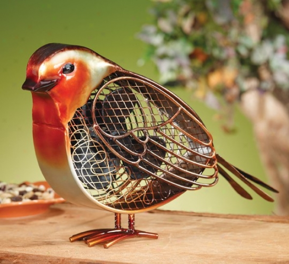 Decorative Table Fan Robin Figurine Contrivance In Orange Finish
