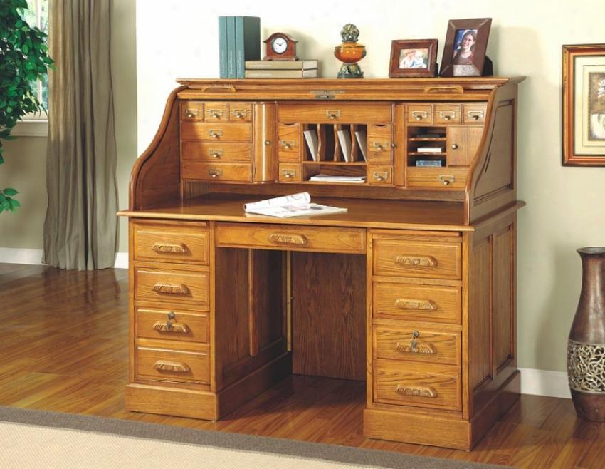 Deluxe Oak Finish Roll Top Bedroom Home Office Writing Desk Suite